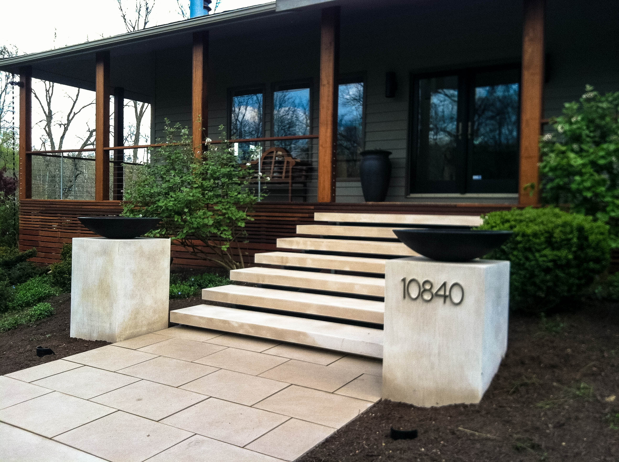 My work floating stairs thinking outside the boxwood for Outside landscape