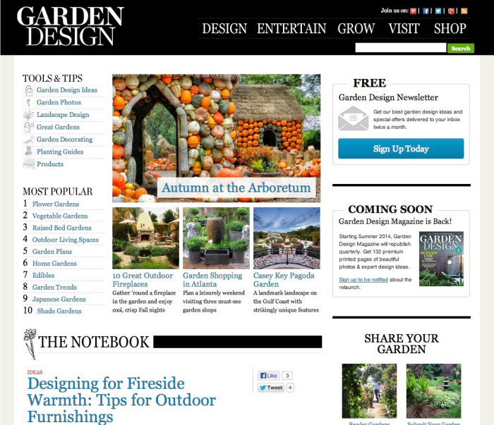 Garden Design Website Summer 2014 Magazine Relaunch