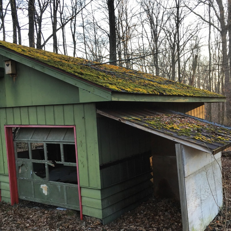 Auxiliary garden buildings inspiration - Mid Century Style Garage Located in Ohio with moss covered roof -More buildings at Thinkingoutsidetheboxwood.com