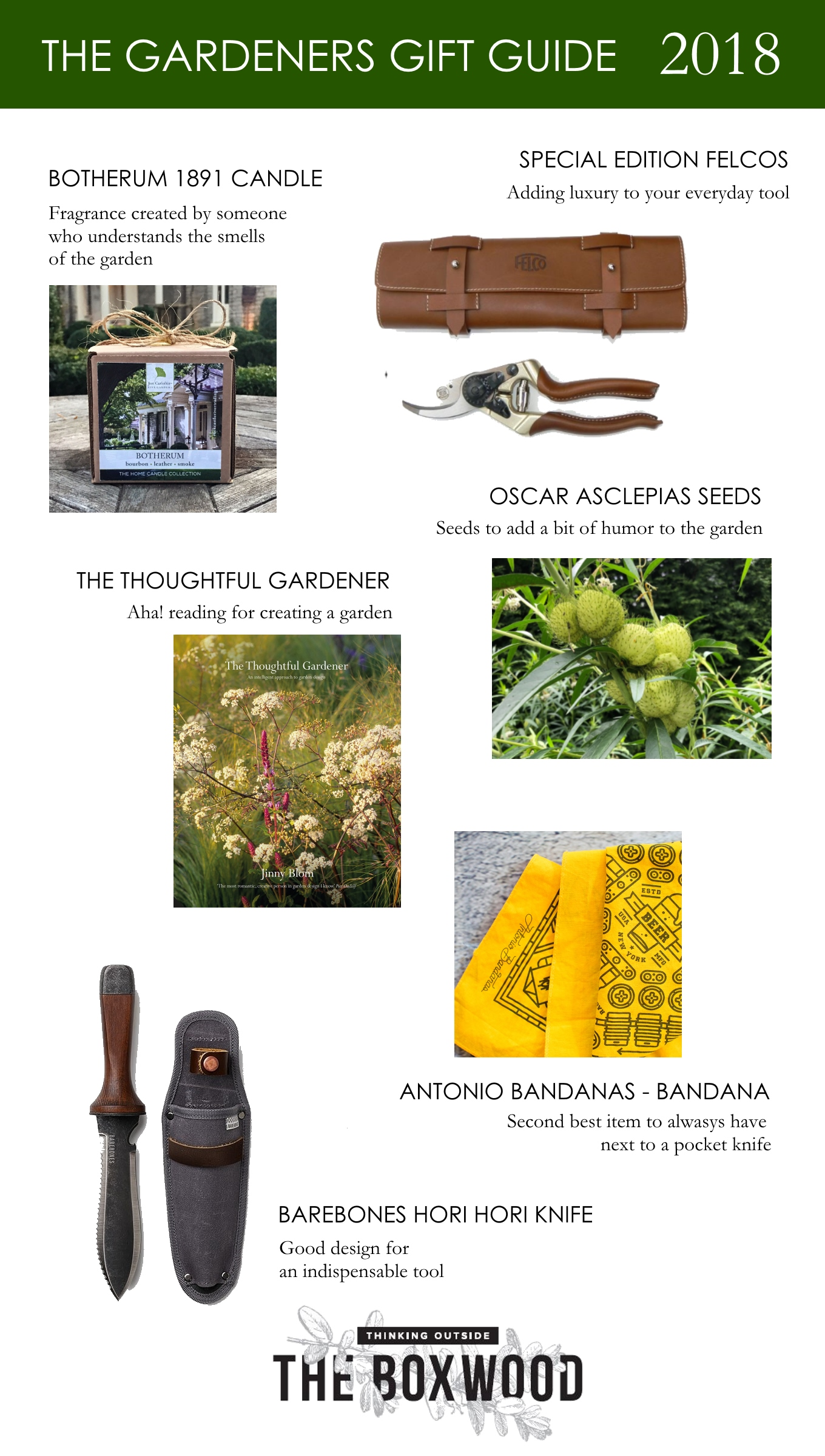 A gifting guide for gardeners based on my favorite finds from the past year. Thinking Outside the Boxwood