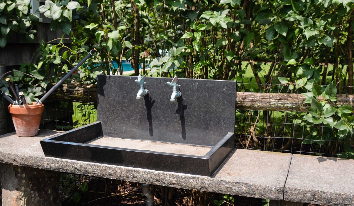 Great Garden Design - Outdoor Sinks. well designed outdoor sinks using natural soap stone, concrete or stainless. Thinkingoutsidetheboxwood.com